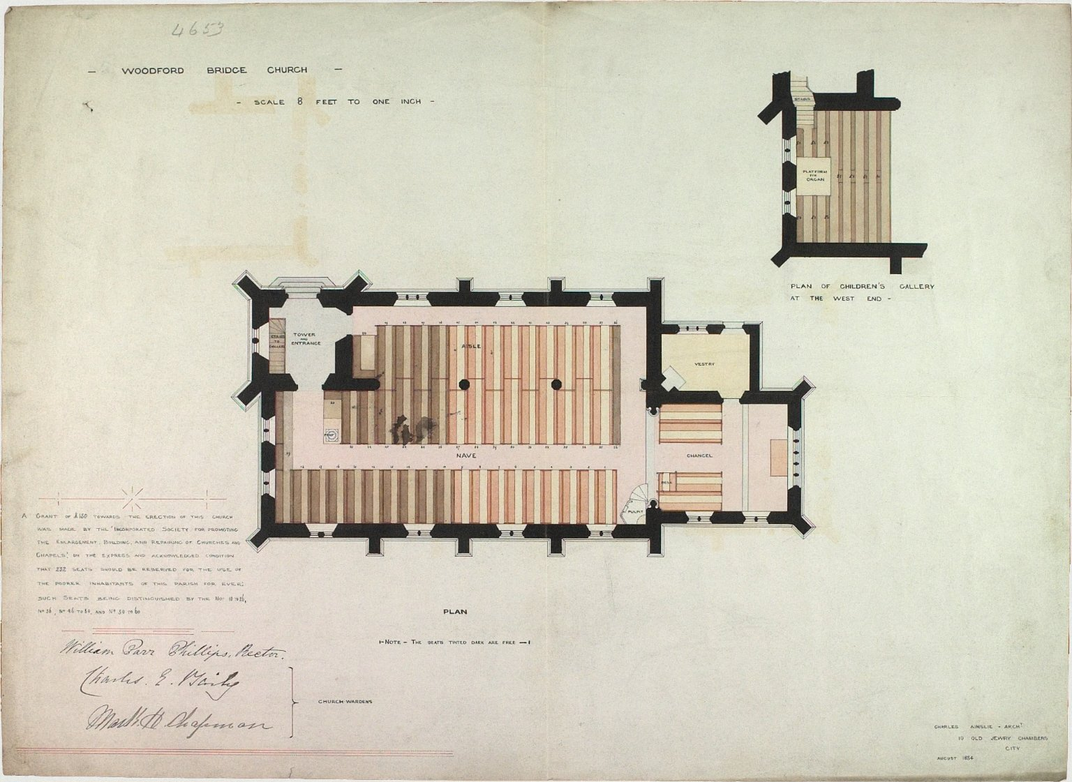 Signed Charles Ainslie, Architect