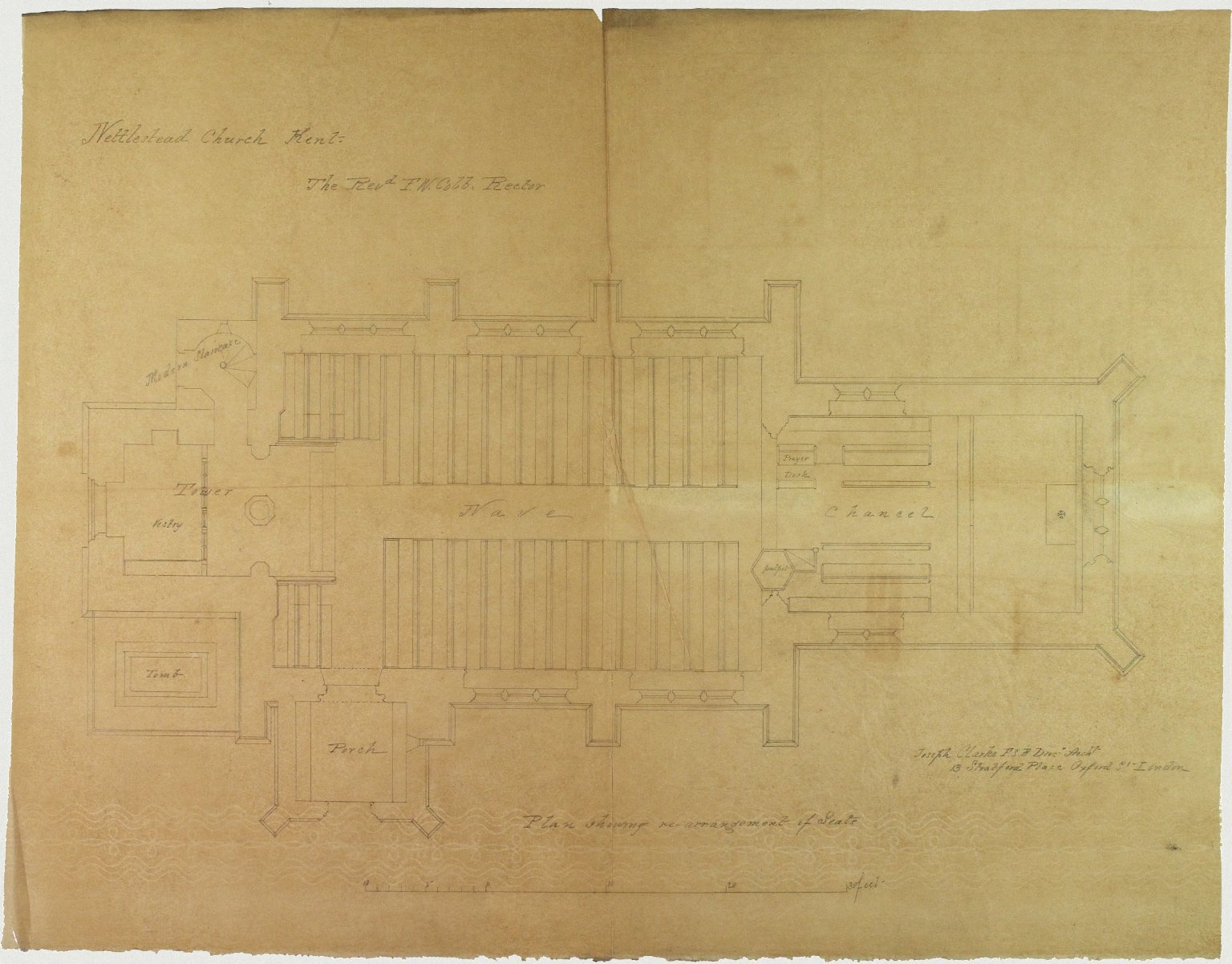 Signed Joseph Clarke, Diocesan Architect